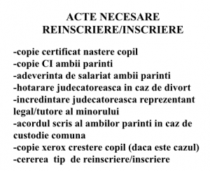 Acte necesare Reinscriere-Inscriere 2016- 2017